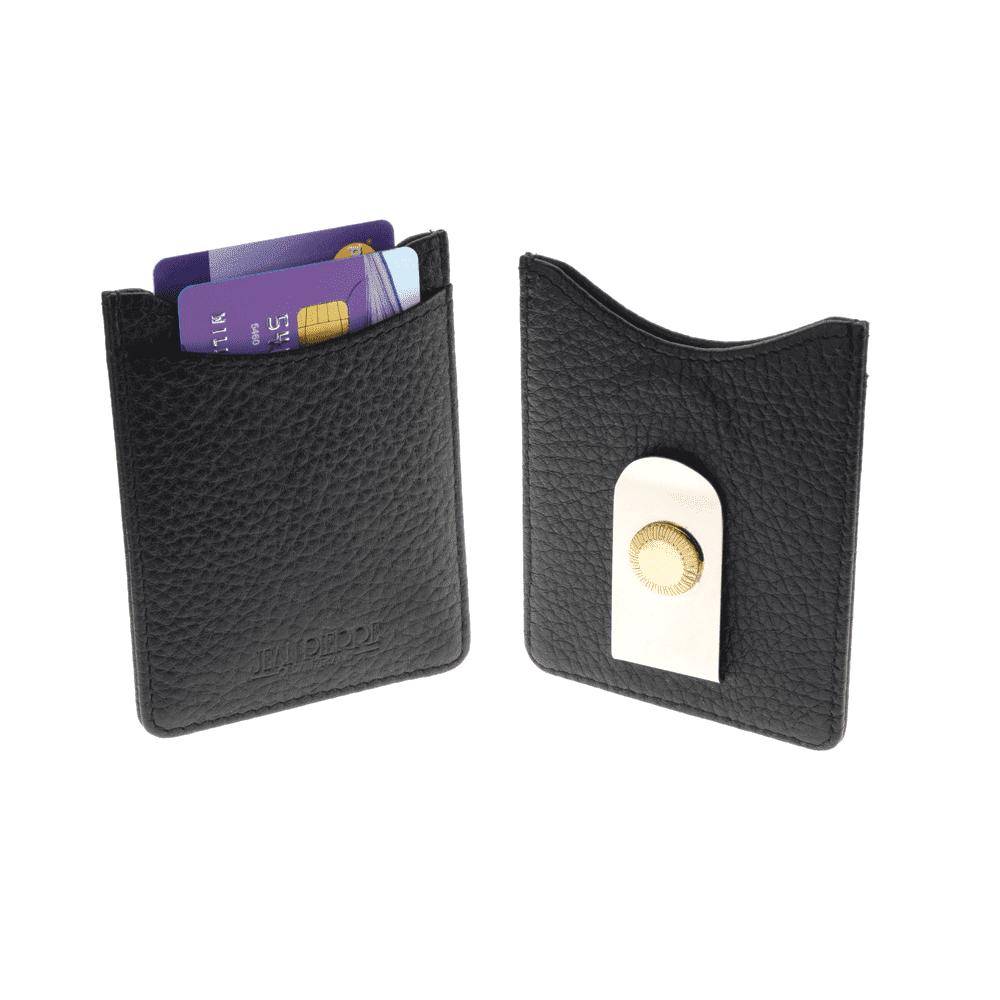 jean pierre black leather credit card holder with money clip d26 blk jean pierre of switzerland - Money Clip Credit Card Holder