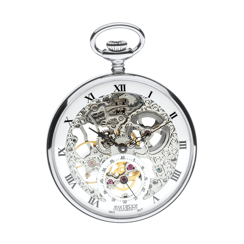 open face g252 cm skeleton pocket watch jean pierre of switzerland